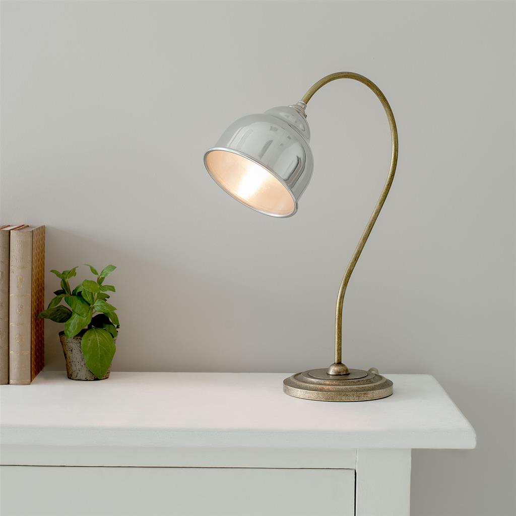Wharton Table Lamp in Antiqued Brass with Aluminium Shade