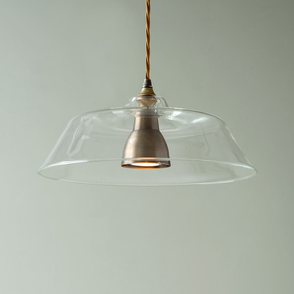 Lynfield Glass Pendant Light in Antiqued Brass