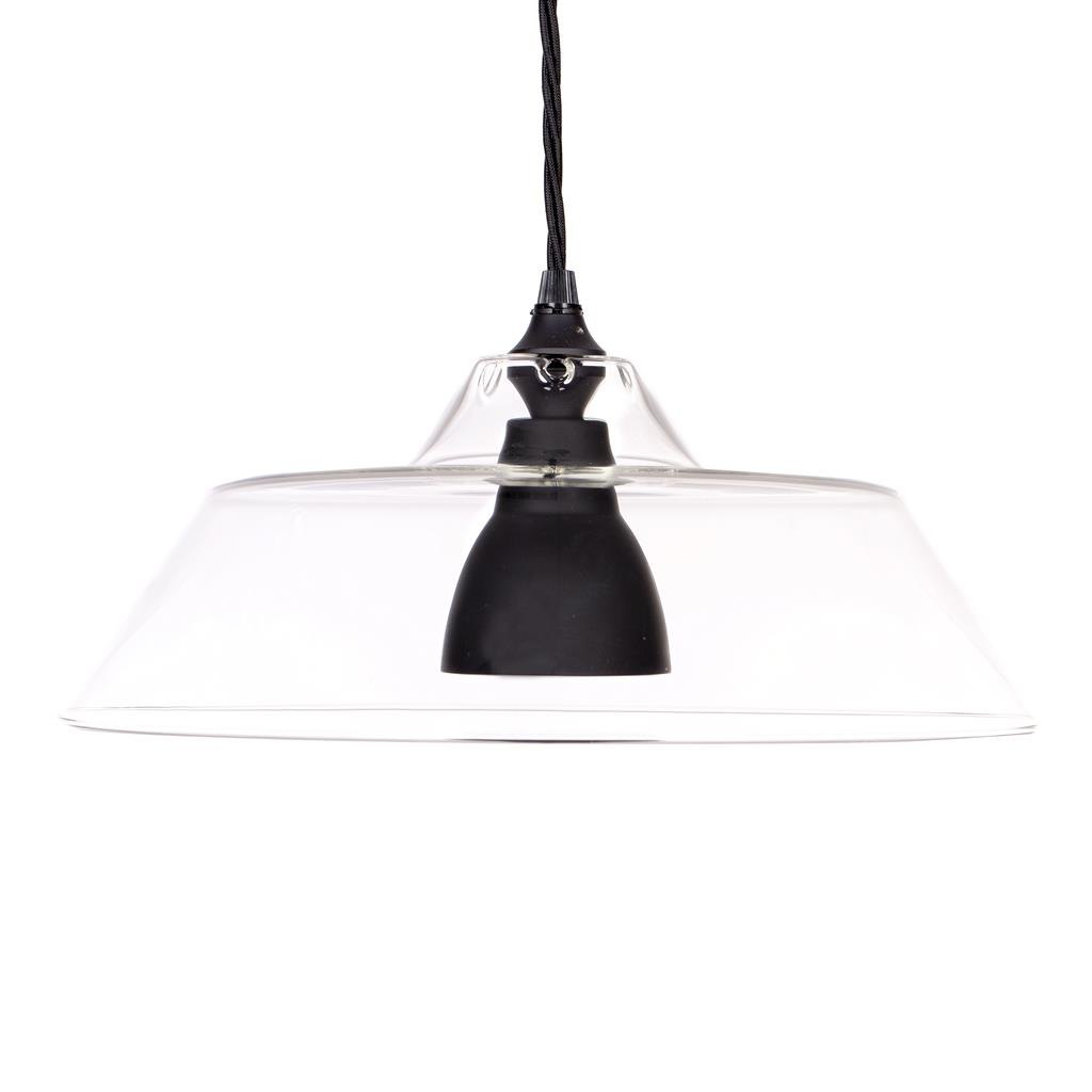 Lynfield Glass Pendant Light in Matt Black