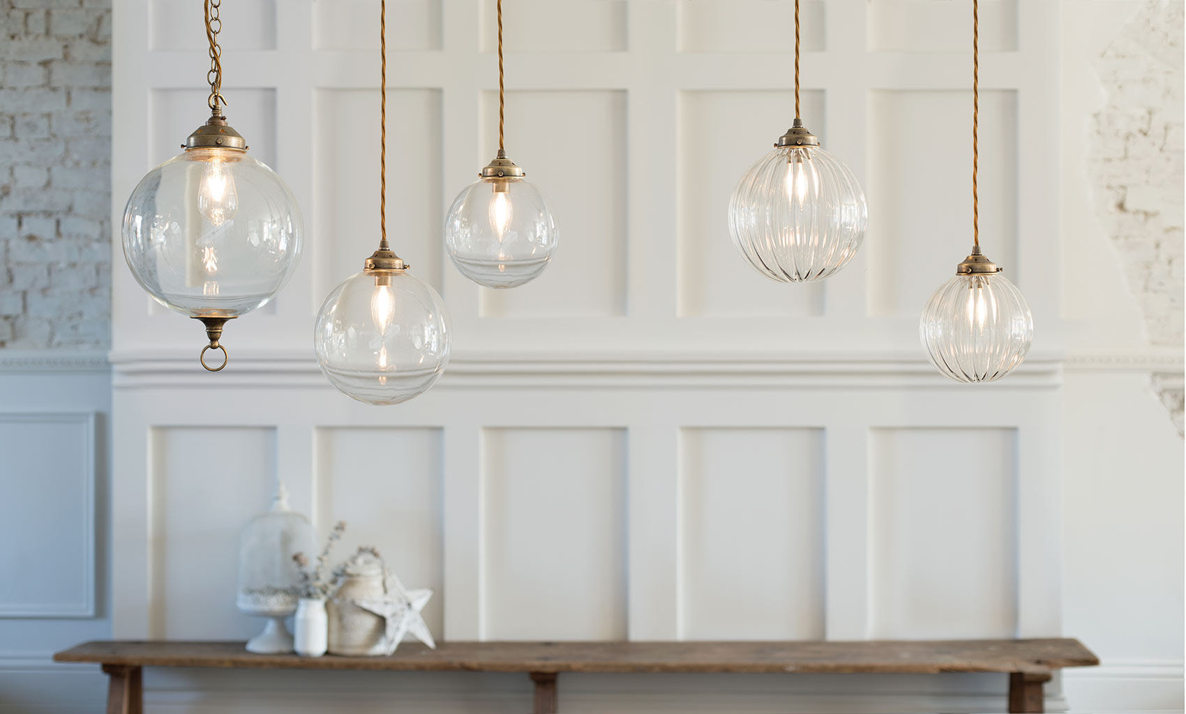 Fulbourn Glass Pendant Light in Antiqued Brass
