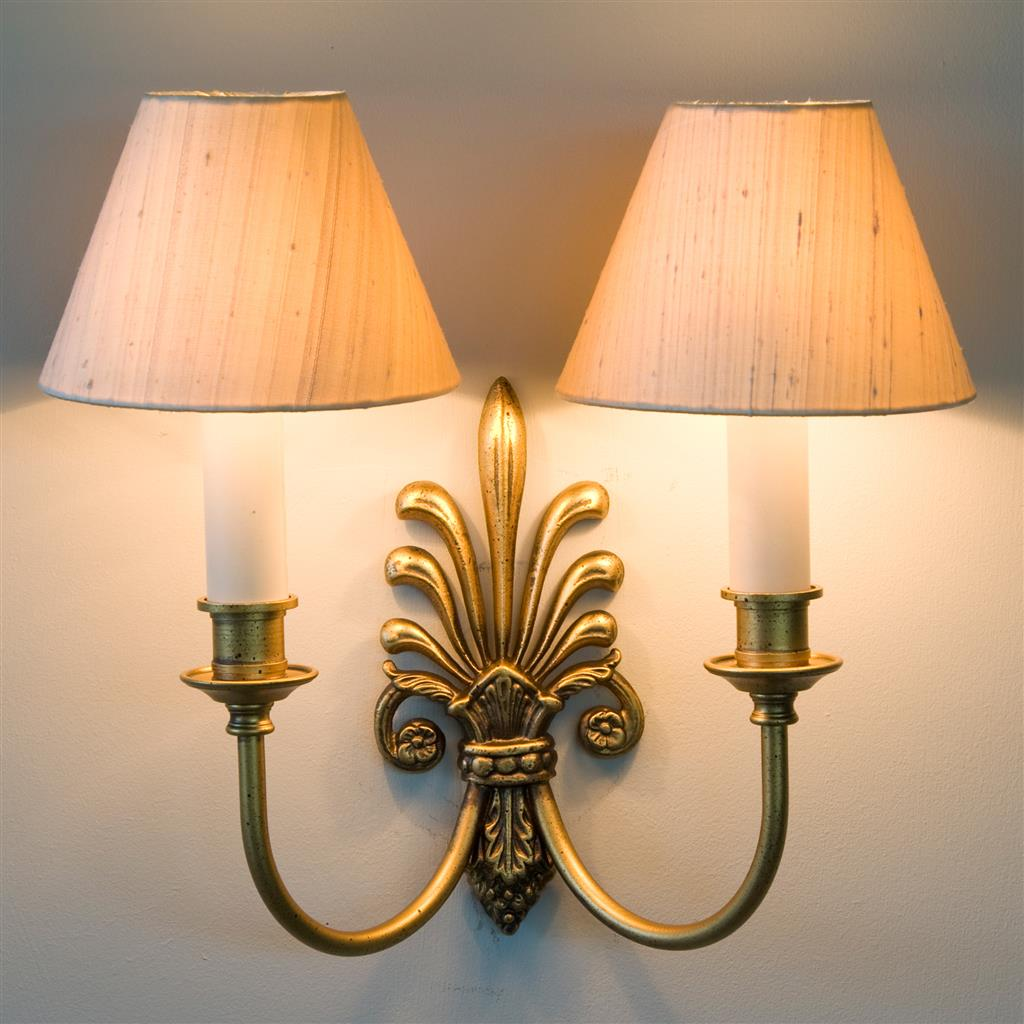 Old Gold Double Wall Light Period Wall Lighting Jim Lawrence