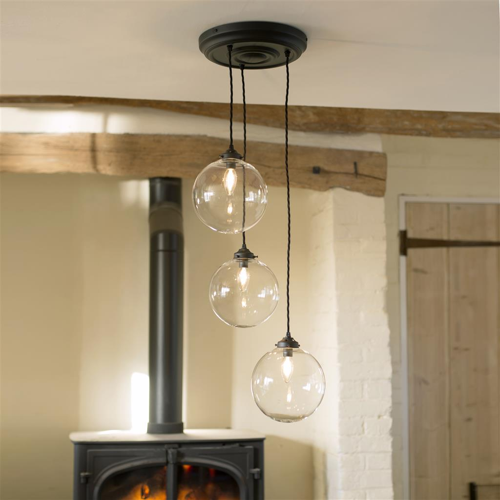 Holborn Triple Pendant Rose in Matt Black