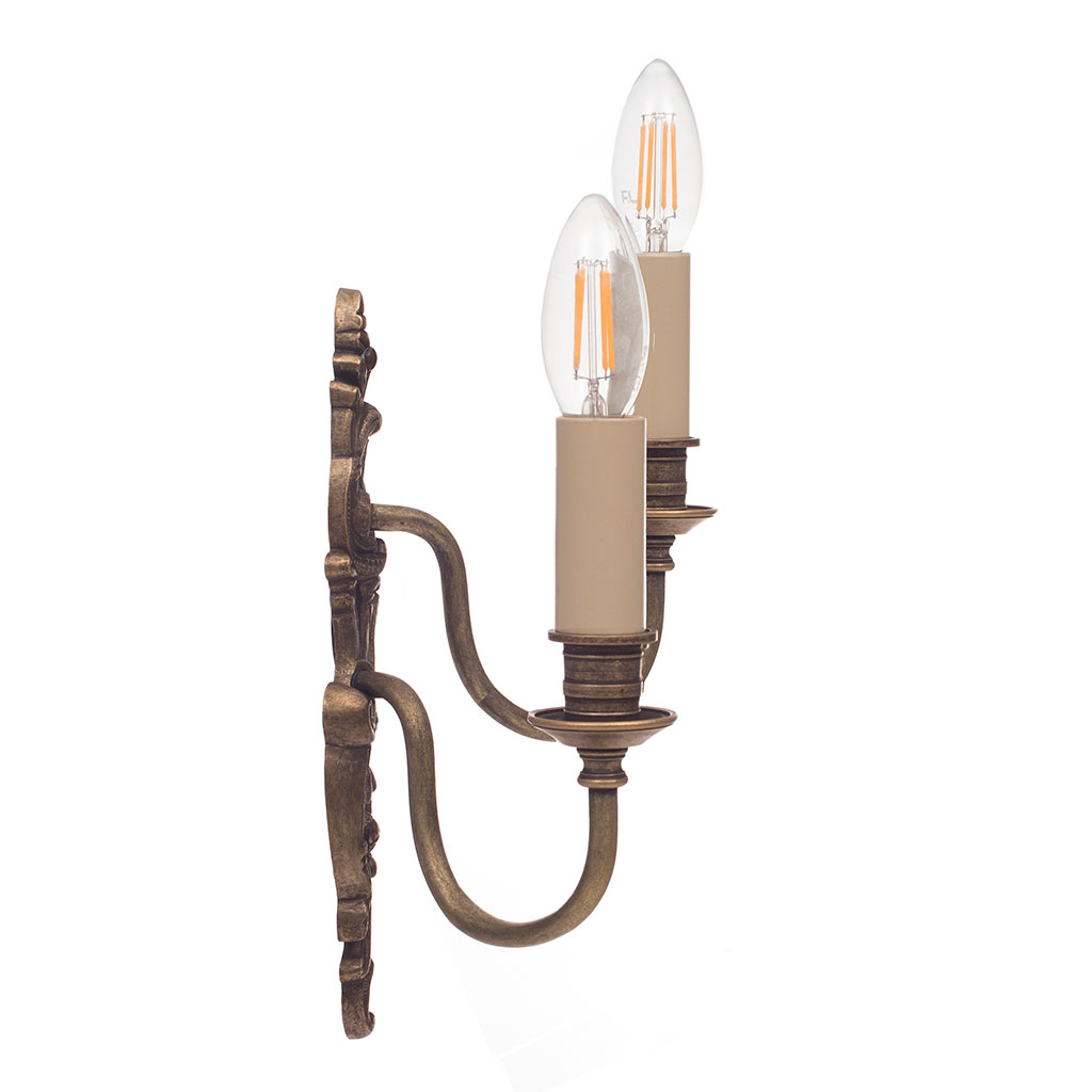 Right Handed Double Rococo Wall Light in Antiqued Brass