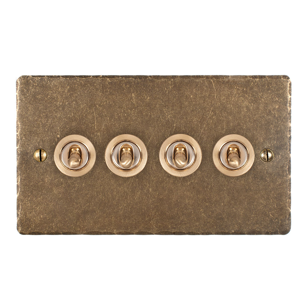 4 Gang Brass Dolly Switch Antiqued Brass Hammered Plate