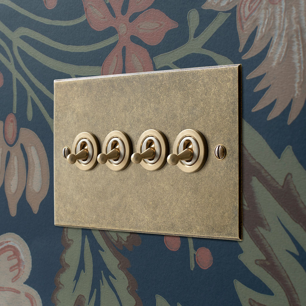 4 Gang Brass Dolly Switch Antiqued Brass Bevelled Plate