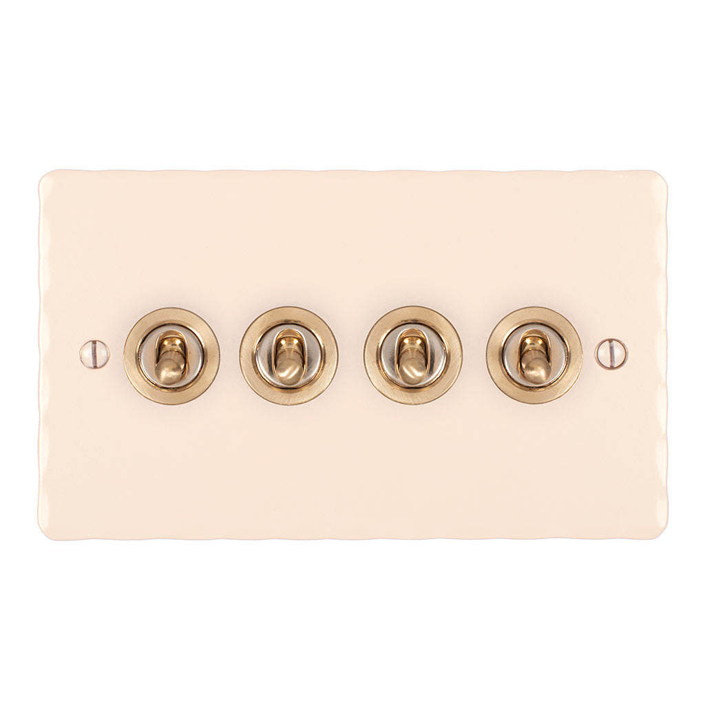 4 Gang Brass Dolly Switch Plain Ivory Hammered Plate