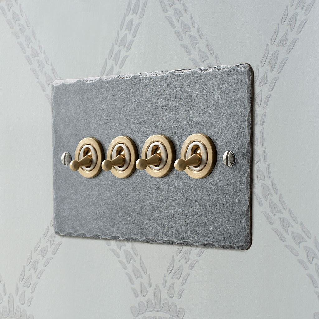 4 Gang Brass Dolly Switch with Polished Hammered Plate