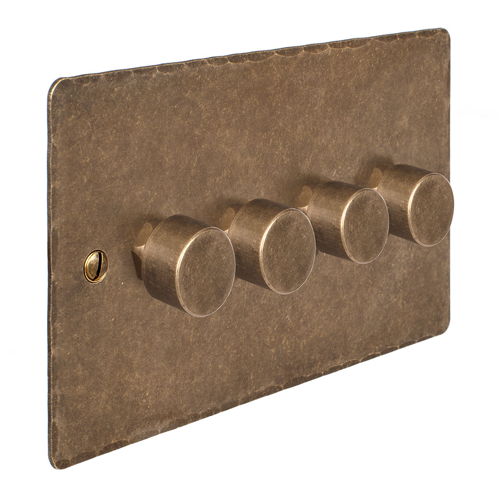 4 Gang Rotary Dimmer Antiqued Brass Hammered Plate