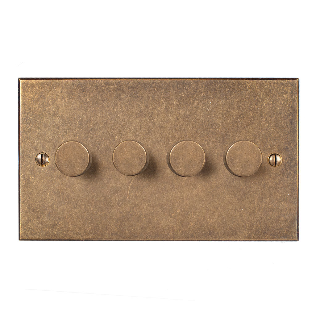4 Gang Rotary Dimmer Antiqued Brass Bevelled Plate