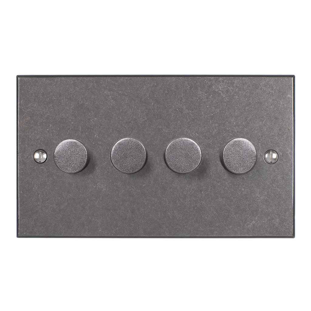 4 Gang Rotary Dimmer in Polished with Bevelled Plate