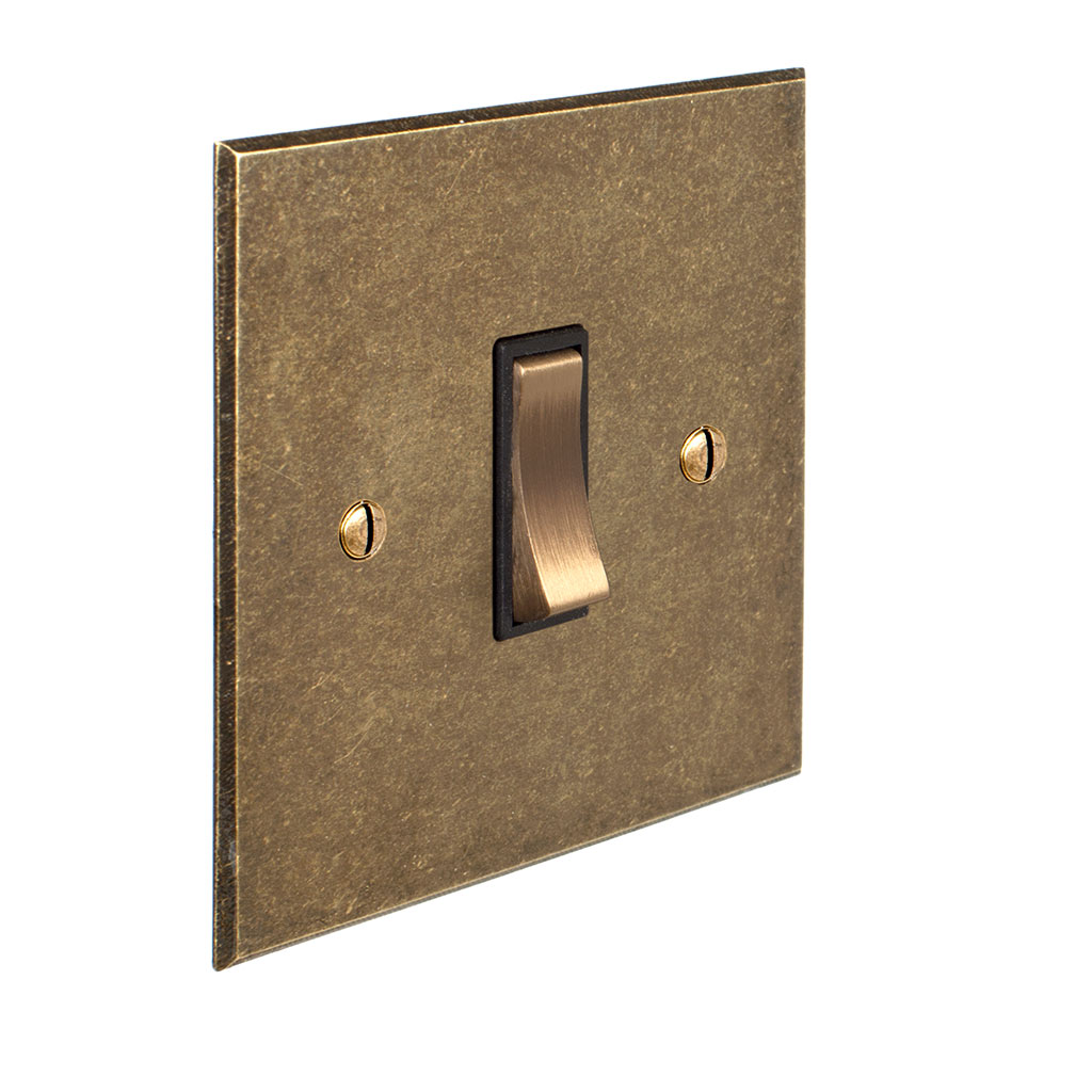 Double Pole Isolator, No Neon, Antiqued BrassBevelled Plate, Brass Switch