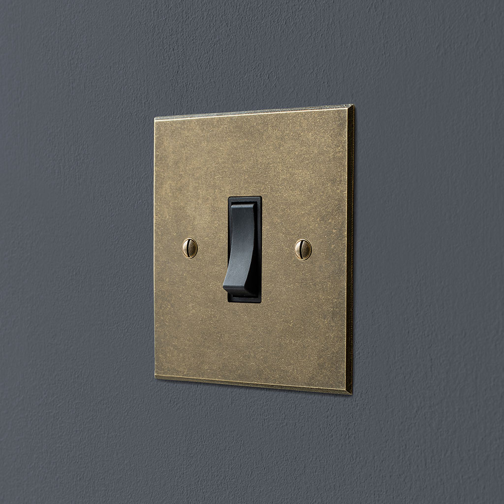 Double Pole Isolator (No Neon) Antiqued Brass Bevelled Plate, Black Switch