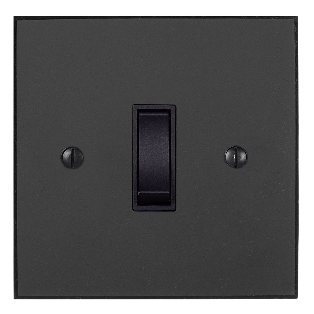 Double Pole Isolator (No Neon) Beeswax Bevelled Plate, Black Switch