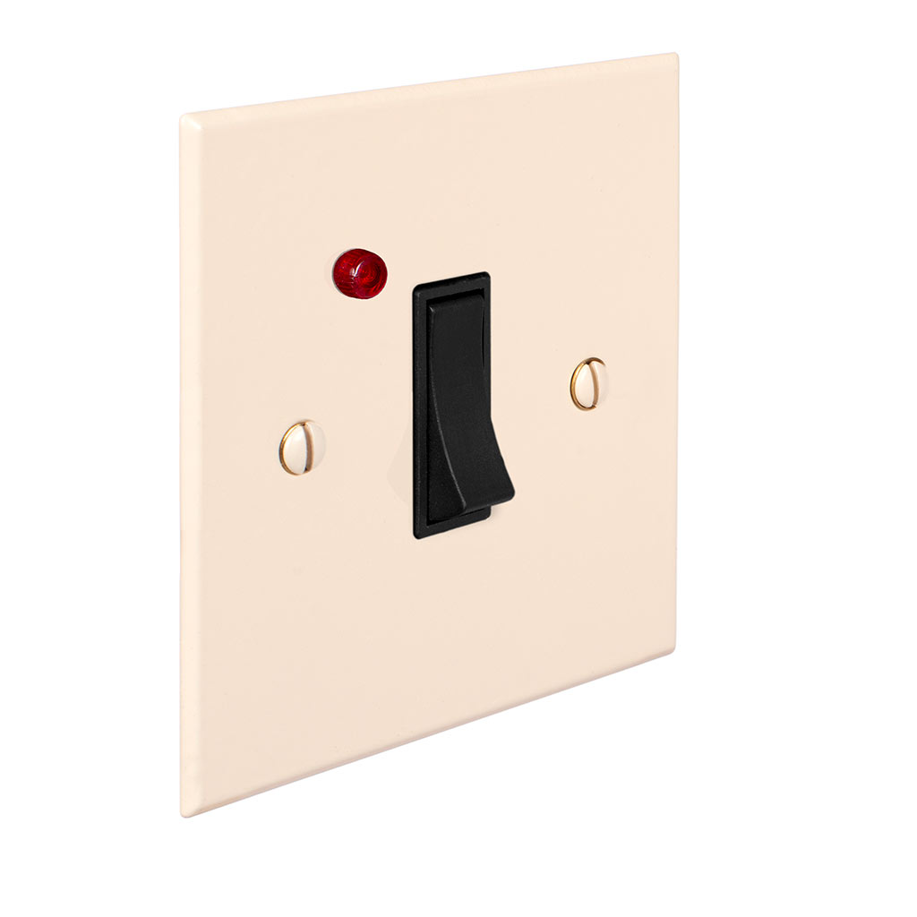 Double Pole Isolator (Neon) Plain Ivory Hammered Plate, Black Switch