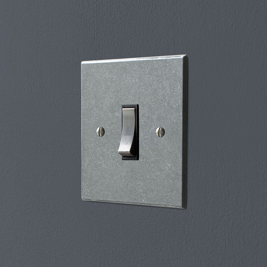 Double Pole Isolator (No Neon) Polished Bevelled Plate, Steel Switch