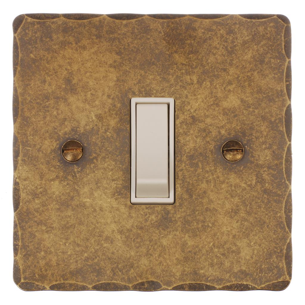 Double Pole Isolator (No Neon) Antiqued BrassHammered Plate, White Switch