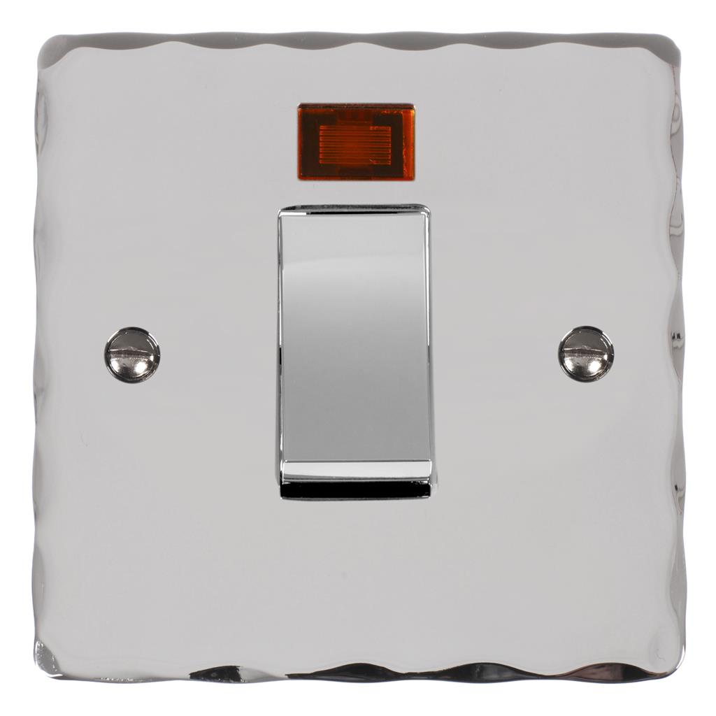 45amp Cooker Switch Nickel Hammered Plate,(discontinued, only stock shown available)