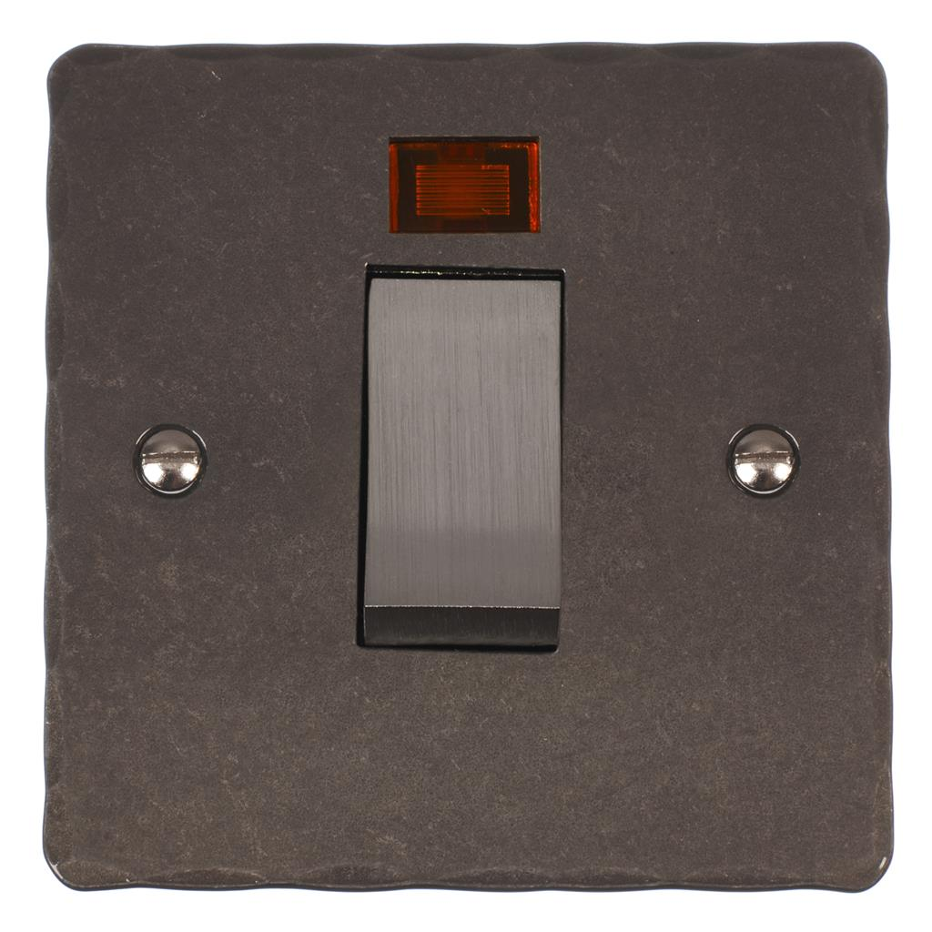 45amp Cooker Switch Polished Hammered Plate, Steel Insert