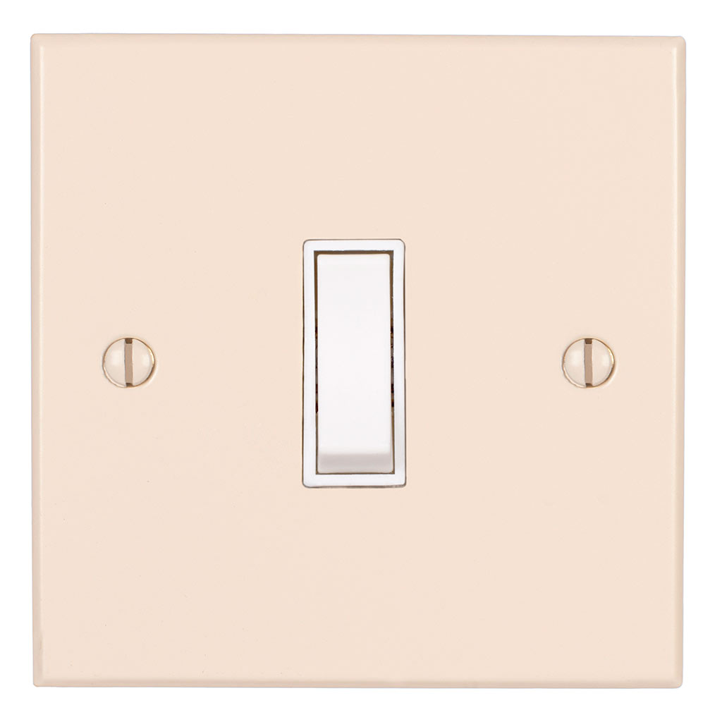 1 Gang White Grid Switch Plain Ivory Bevelled Plate