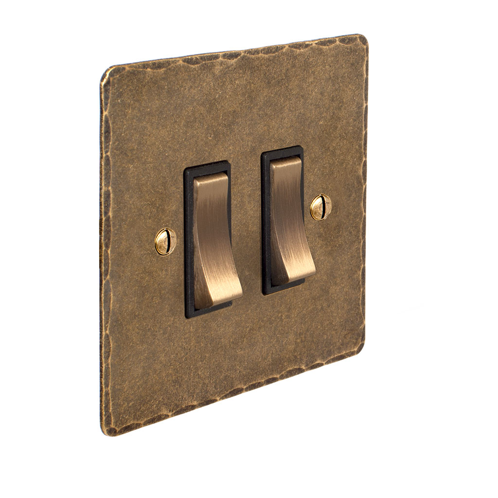 2 Gang Brass Grid Switch Antiqued Brass Hammered Plate