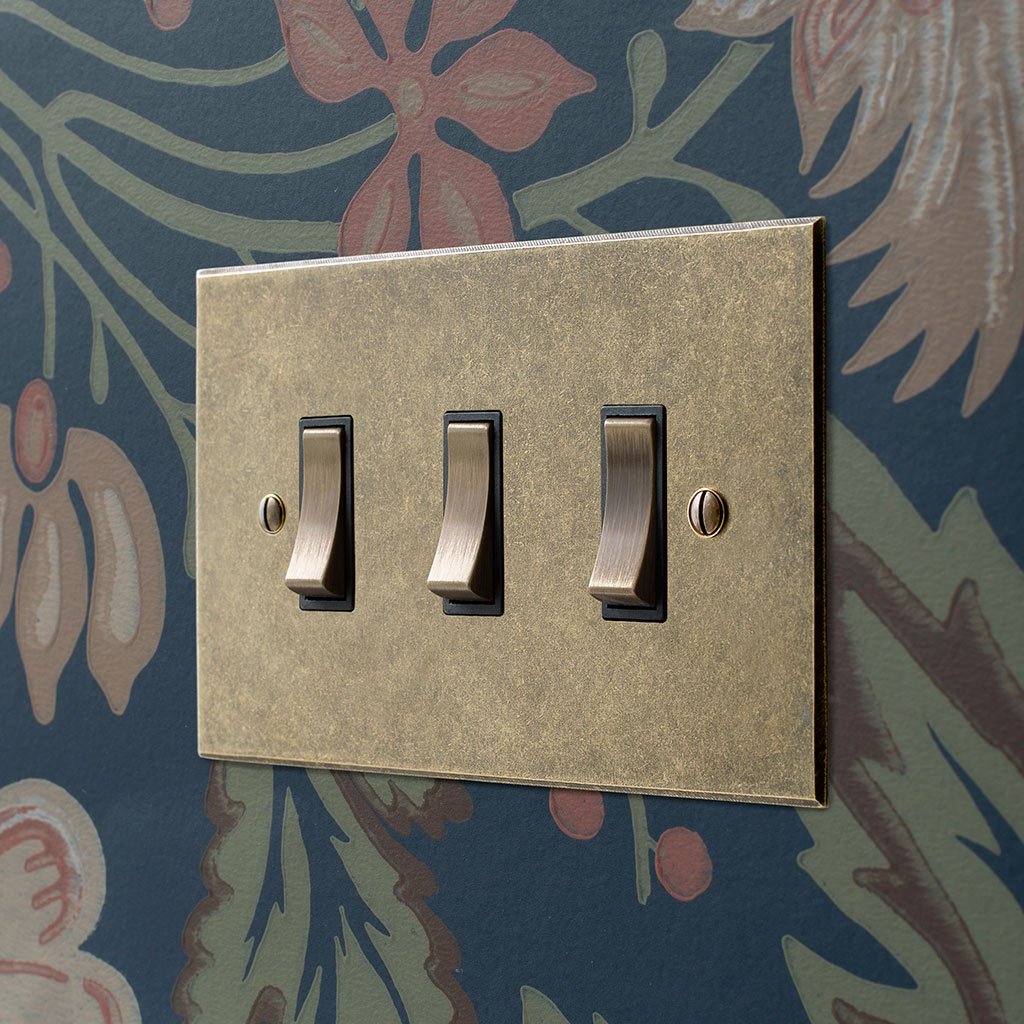 3 Gang Brass Grid Switch Antiqued Brass Bevelled Plate