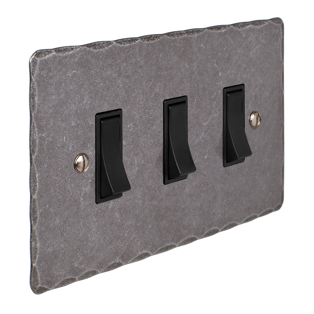 3 Gang Black Grid Switch Polished Hammered Plate(discontinued, only stock shown available)