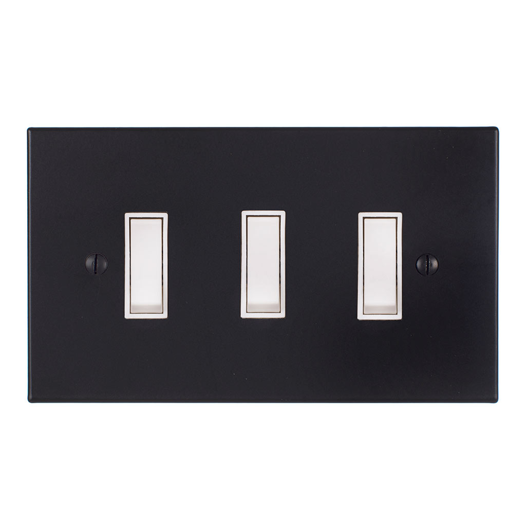 3 Gang White Grid Switch Matt Black Bevelled Plate(discontinued, only stock shown available)