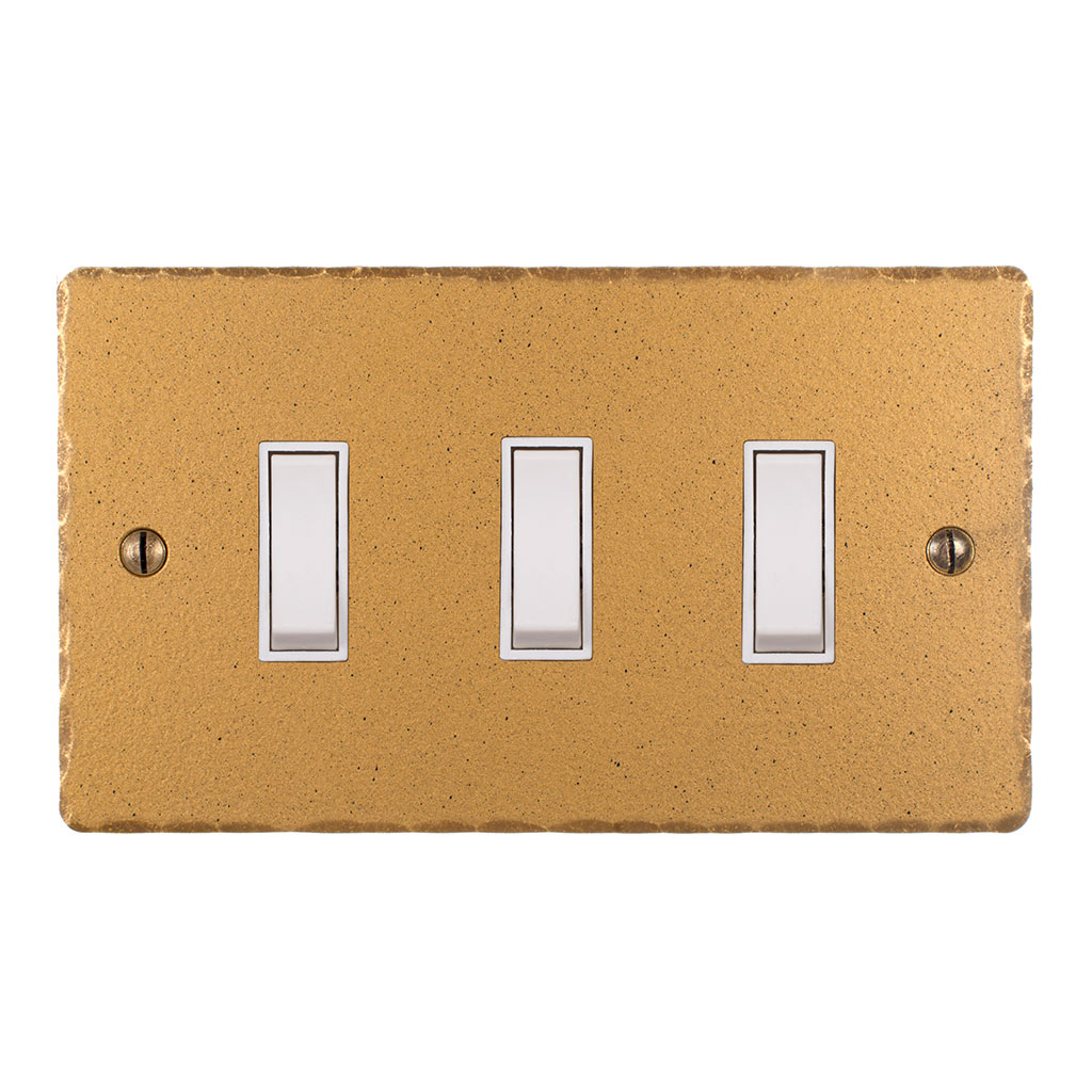 3 Gang White Grid Switch Old Gold Hammered Plate(discontinued, only stock shown available)