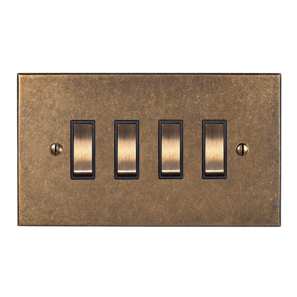 4 Gang Brass Grid Switch Antiqued Brass Bevelled Plate