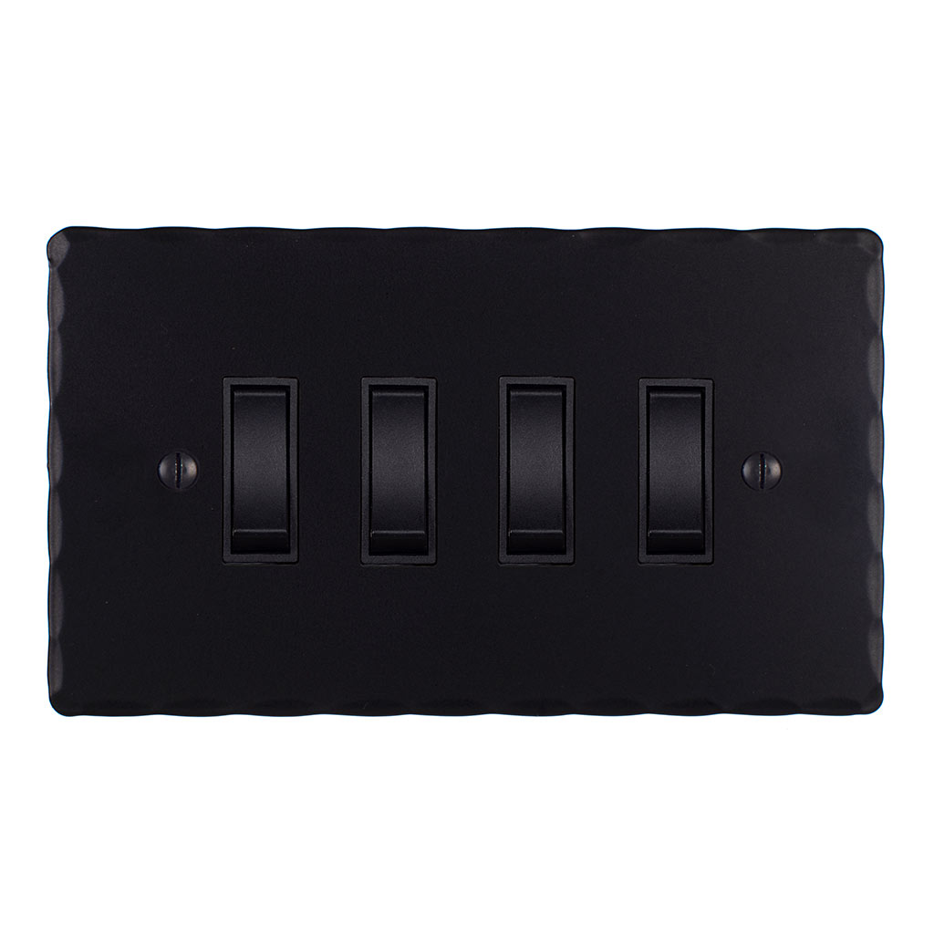 4 Gang Black Grid Switch Matt Black Hammered Plate