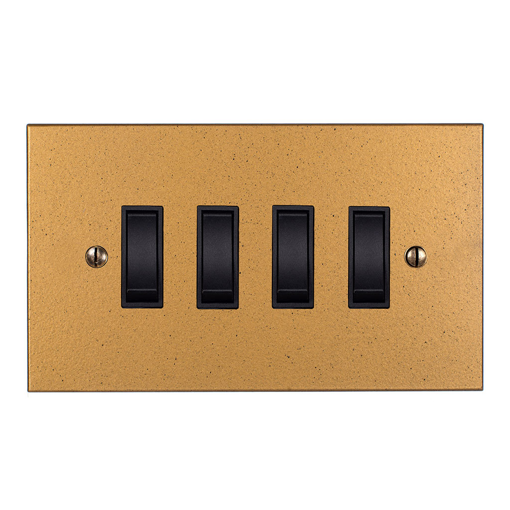 4 Gang Black Grid Switch Old Gold Bevelled Plate(discontinued, only stock shown available)
