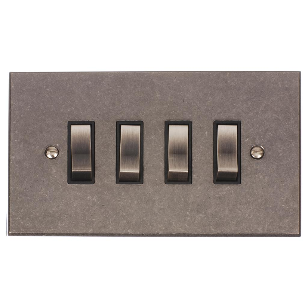 4 Gang Steel Grid Switch Polished Bevelled Plate