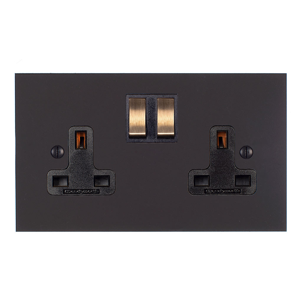 2 Gang Plug Socket Beeswax Bevelled Plate, Brass Switches