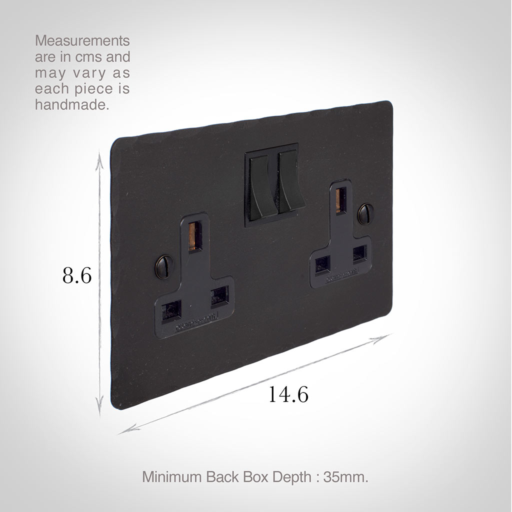 2 Gang Plug Socket Beeswax Hammered Plate, Black Switches