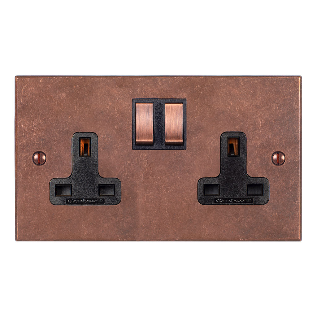 2 Gang Plug Socket Heritage Copper Bevelled Plate, Copper Switches