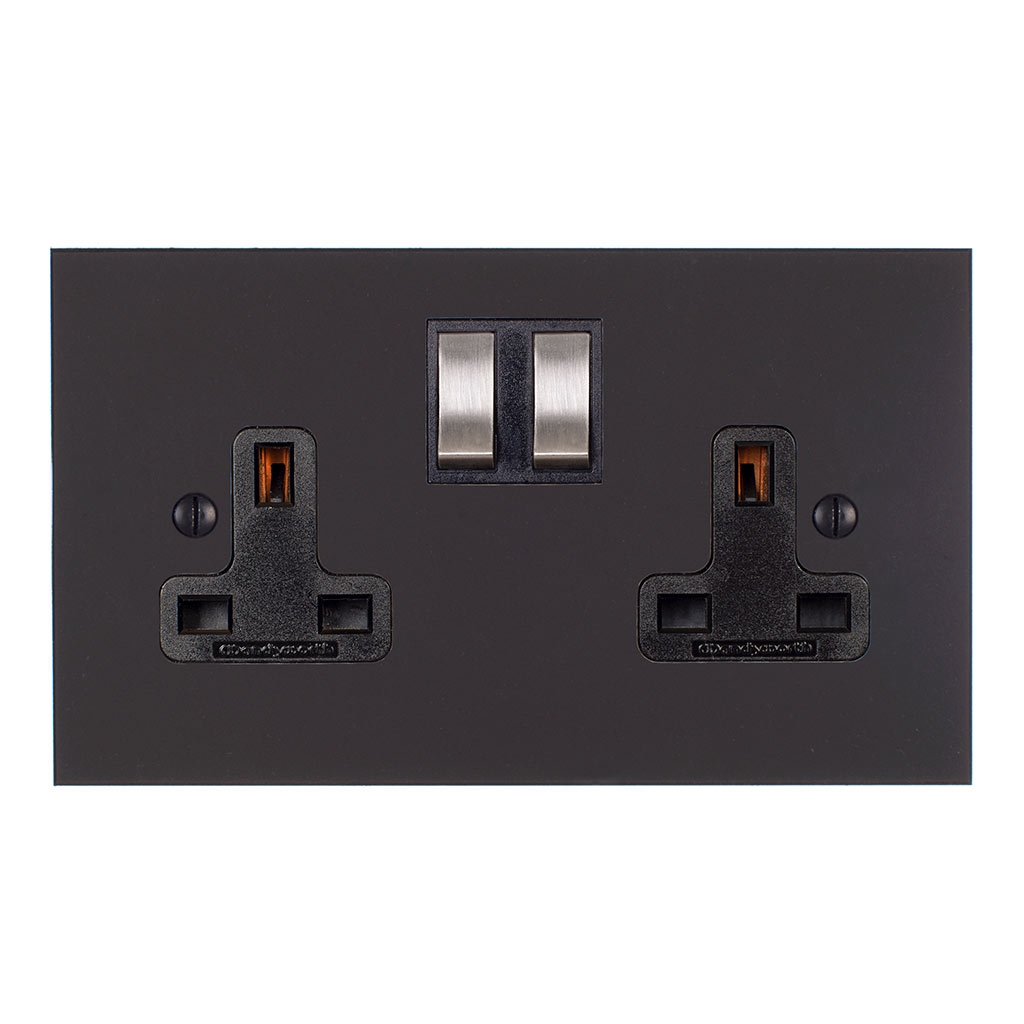 2 Gang Plug Socket Beeswax Bevelled Plate, Steel Switches