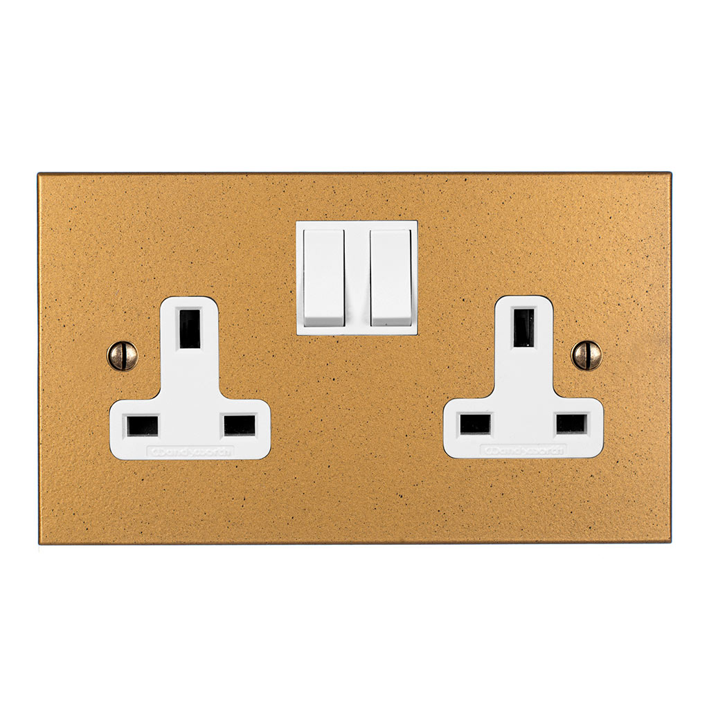 2 Gang Plug Socket Old Gold Bevelled Plate, White Switches