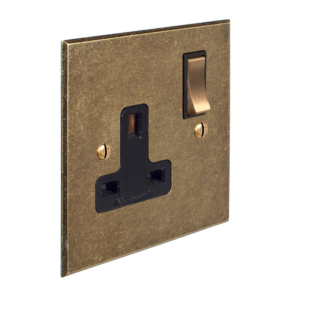 1 Gang Plug Socket Antiqued Brass Bevelled Plate, Brass Switch