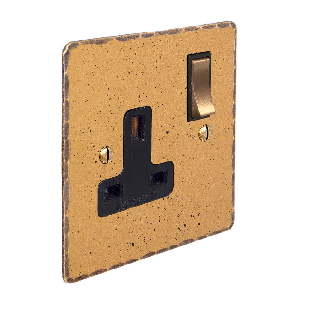 1 Gang Plug Socket Old Gold Hammered Plate, Brass Switch