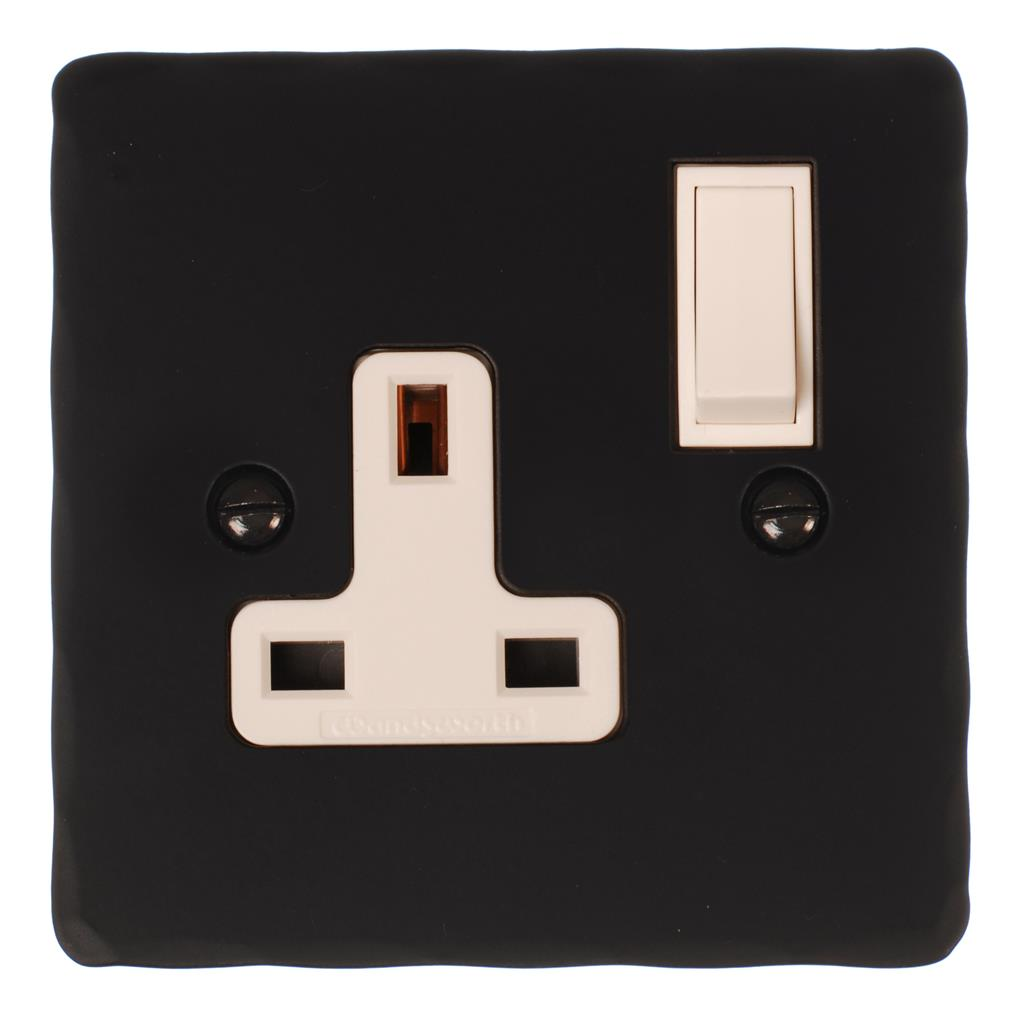 1 Gang Plug Socket Matt Black Hammered Plate,(discontinued, only stock shown available)