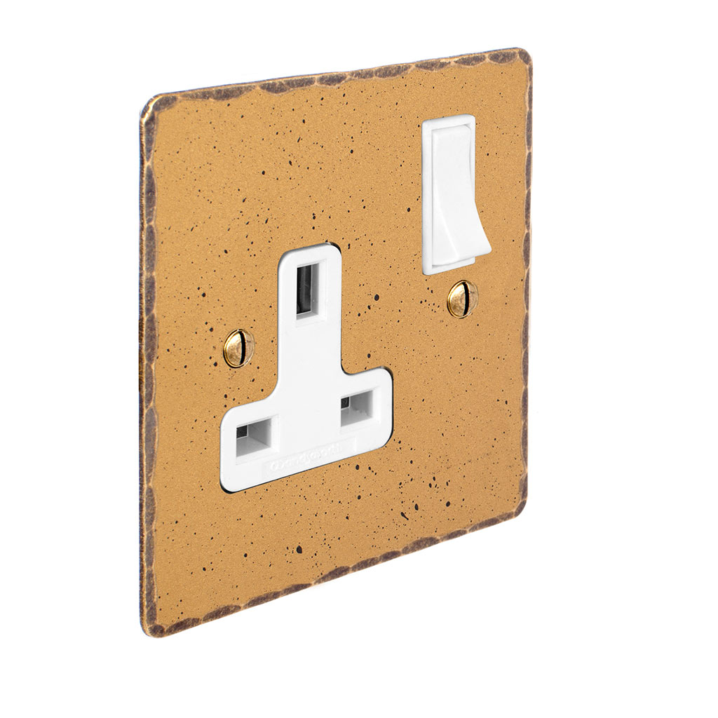 1 Gang Plug Socket Old Gold Hammered Plate, White Switch