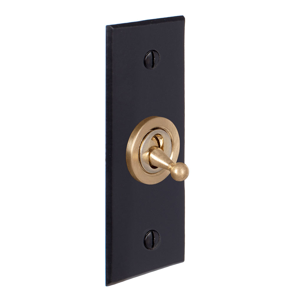 1 Gang Brass Dolly Architrave Switch Matt Black Bevelled Plate