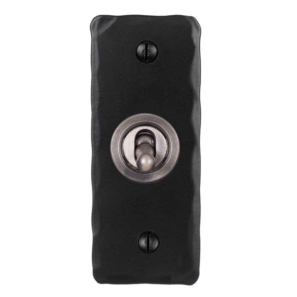 1 Gang Steel Dolly Architrave Switch Matt Black Hammered Plate