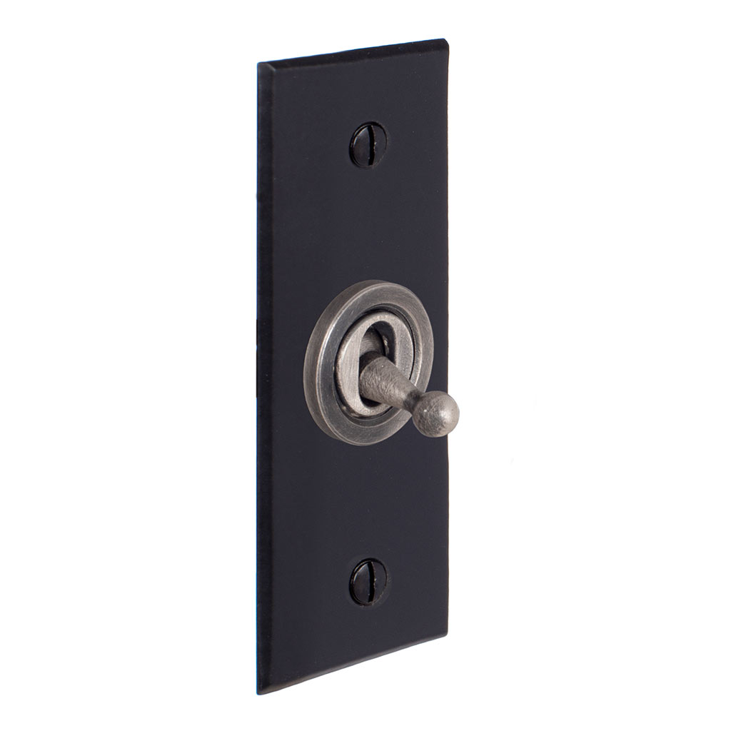 1 Gang Steel Dolly Architrave Switch Matt Black Bevelled Plate