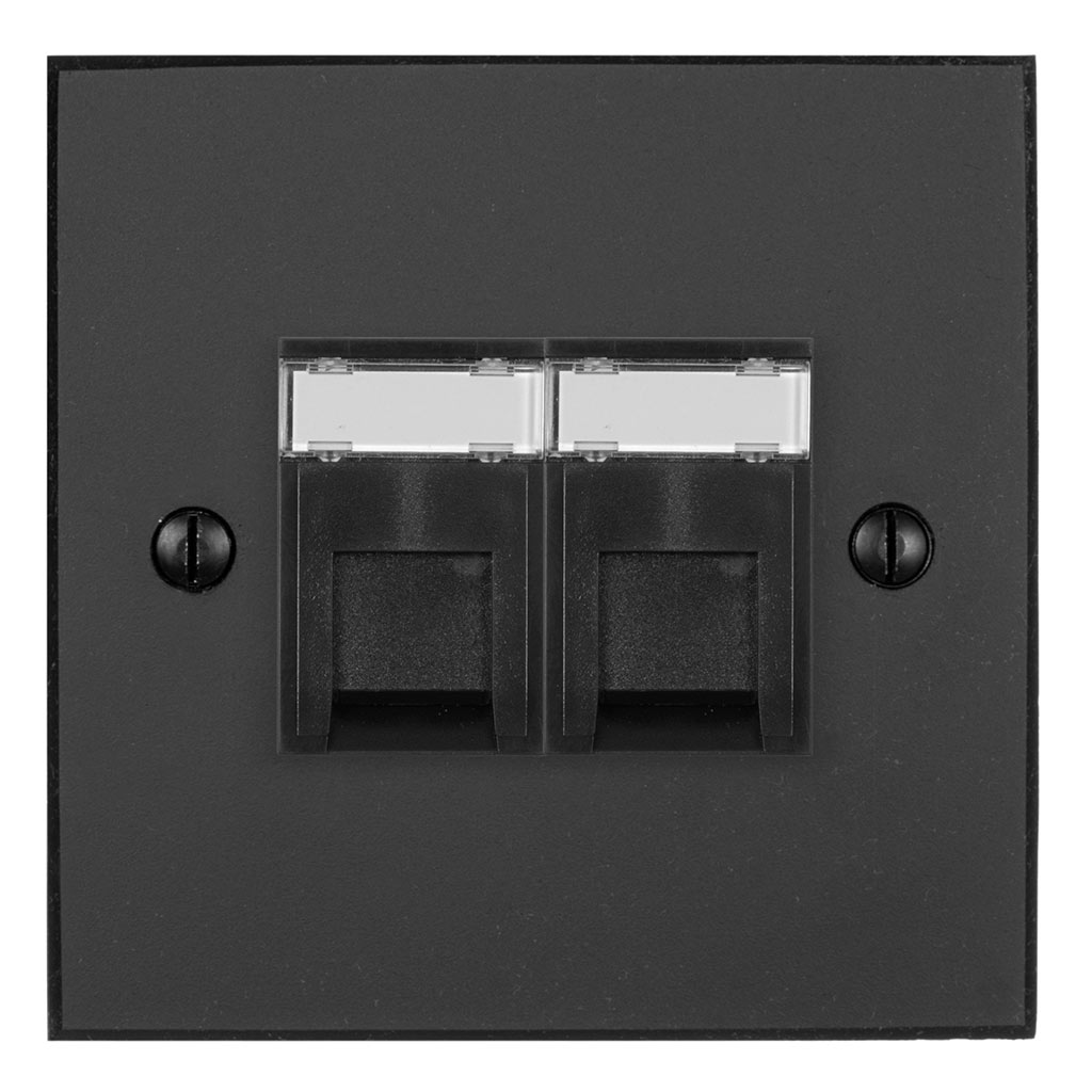 Combined BT Secondary/RJ45 Socket Beeswax Bevelled Plate, Black Insert