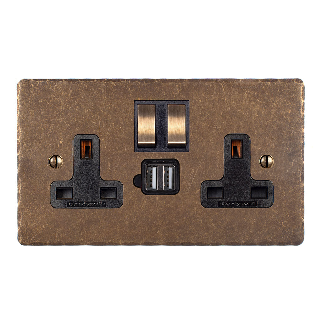 13 Amp 2 Gang Plug Socket Dual USB Port Antiqued Brass Hammered Plate, Brass Switches