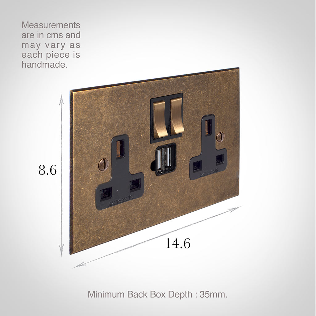 13 Amp 2 Gang Plug Socket Dual USB Port Antiqued Brass Bevelled Plate, Brass Switches