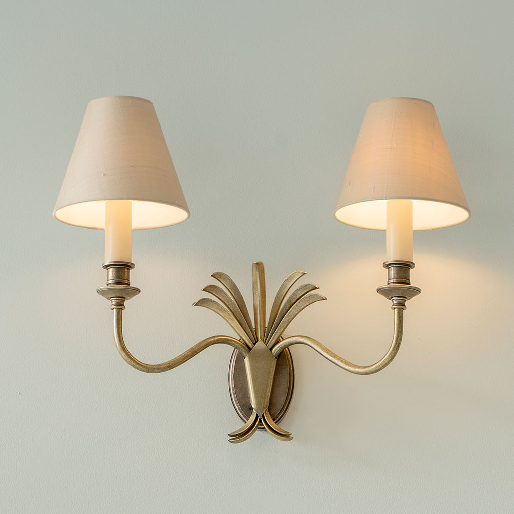 Double Plantation Wall Light in Antiqued Brass