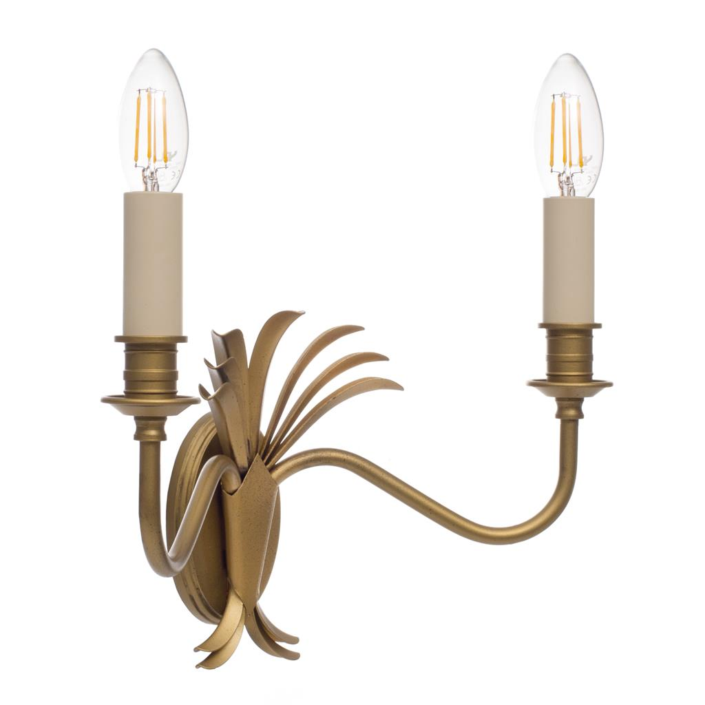 Double Plantation Wall Light in Old Gold
