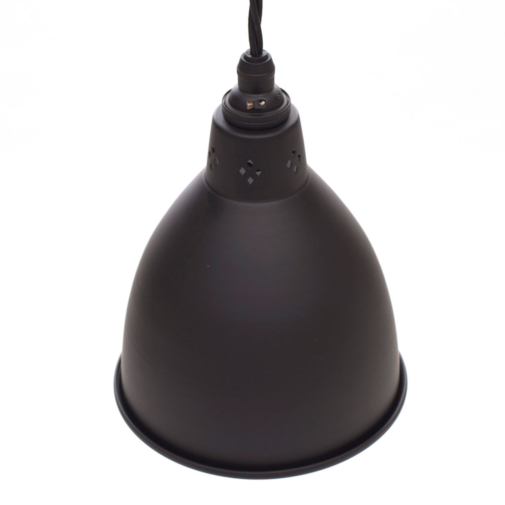 Barbican Pendant Light in Matt Black (inside Ivory)